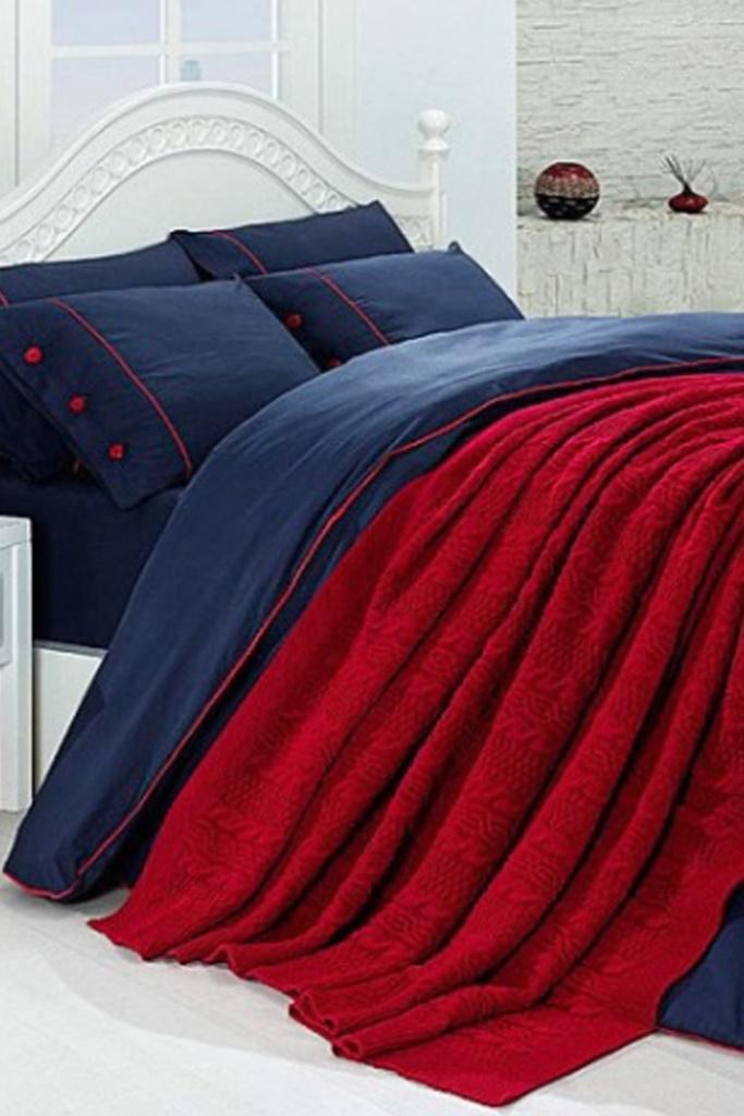 Сатиновое постельное белье с вязанным покрывалом NIRVANA SET(EA 301)