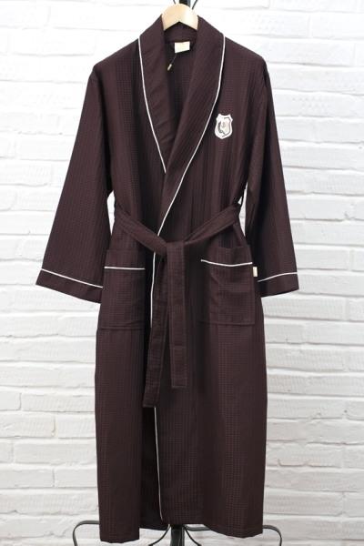 Мужской облегченный халат Waffle Bamboo, коричневый / Мужские халаты / Халаты